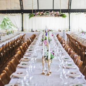 Long tables with vintage decor
