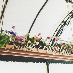 Hanging flower box with laser cut quote