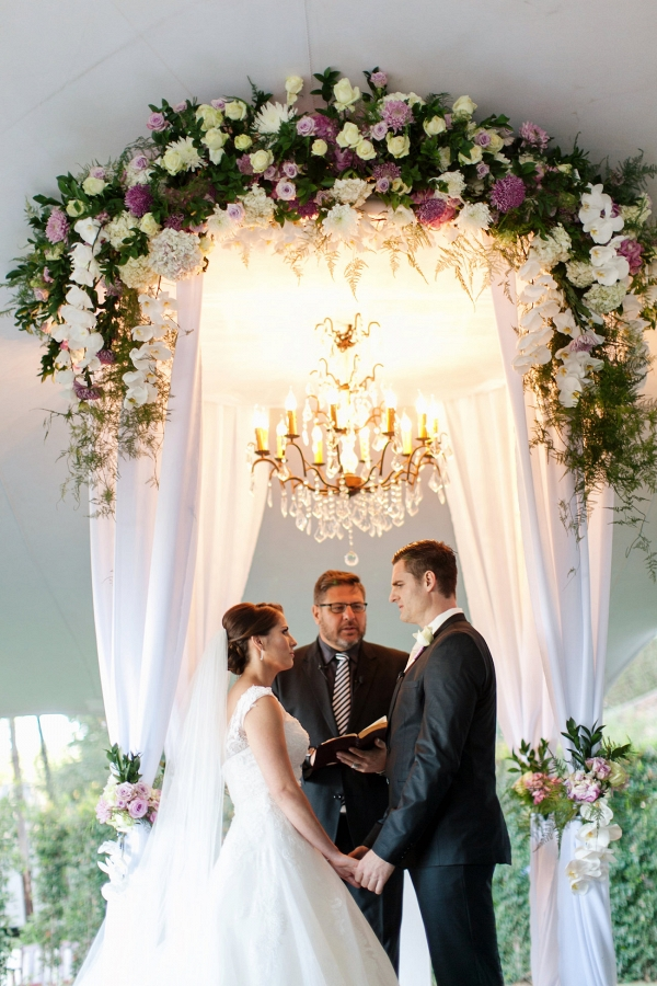 Floral Ceremony Arch with Chandelier