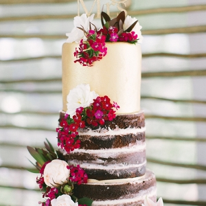 Metallic & Naked Wedding Cake