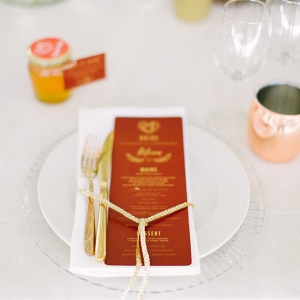 Place Setting with Marsala Menu