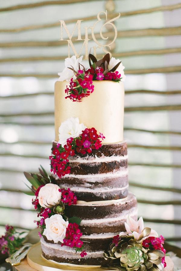 Metallic & Naked Wedding Cake