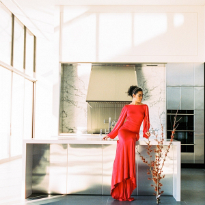 Minimalist Red Wedding Dress