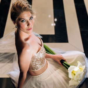 Two Piece Gold Sequin Wedding Gown