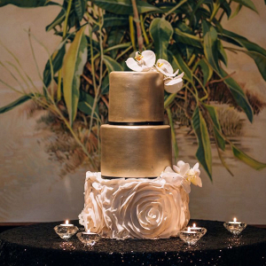 Gold and Ruffle Wedding Cake
