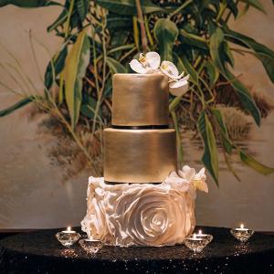 Gold and Ruffle Wedding Cake