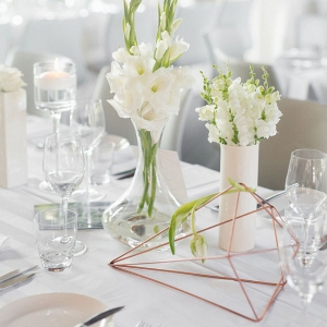 White Table with Geometric Detail