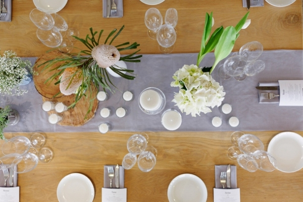 Tablescape with Banksia Centerpiece