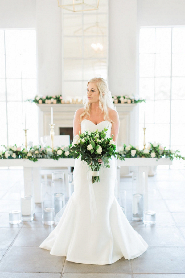 Bride with Greenery & Rose Bouquet