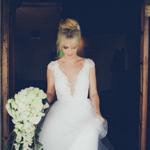 Bride with Cascade Bouquet