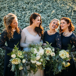 Navy Lace Bridesmaid Dresses