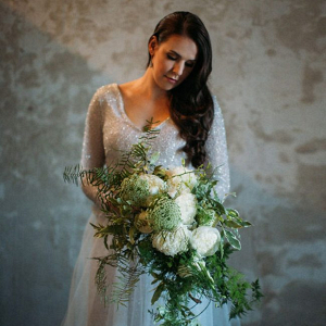 Sparkle Bodice Wedding Dress & Statement Bouquet