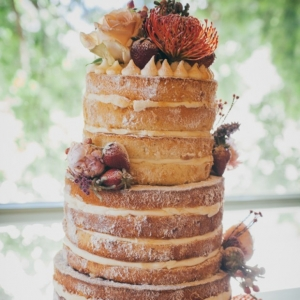 Rustic Naked Cake with Fruit & Flowers