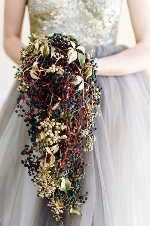 Berry & Gold Wedding Bouquet