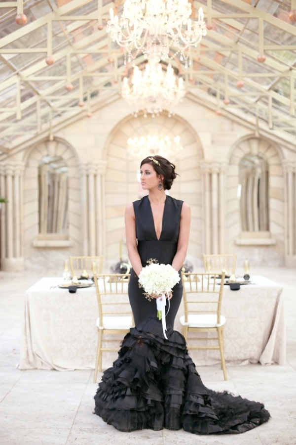 Ruffled black wedding dress