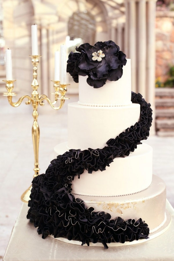 Black ruffle wedding cake