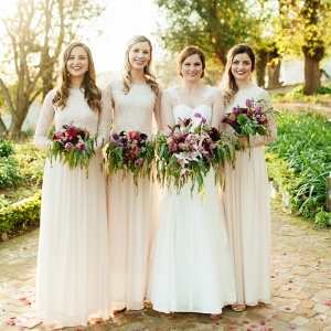 Bridesmaids with Lush Organic Bouquets