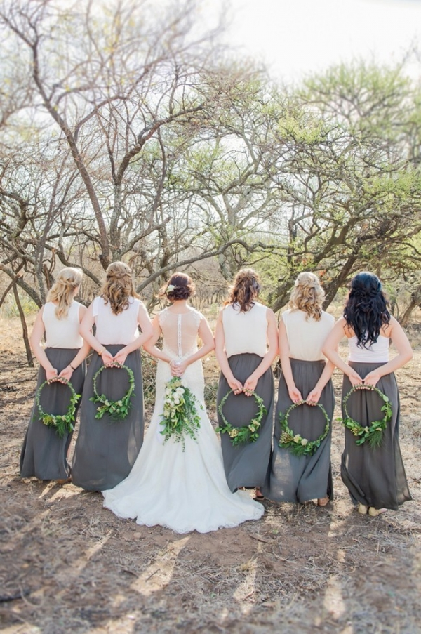 Bridesmaids in tops and skirts