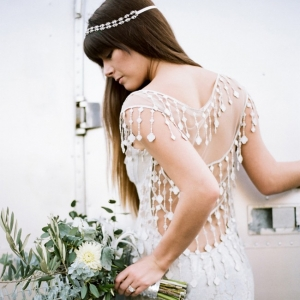 Boho bride in Claire Pettibone Dress