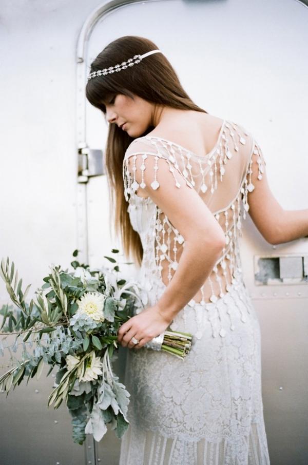 Boho bride in Claire Pettibone Dress