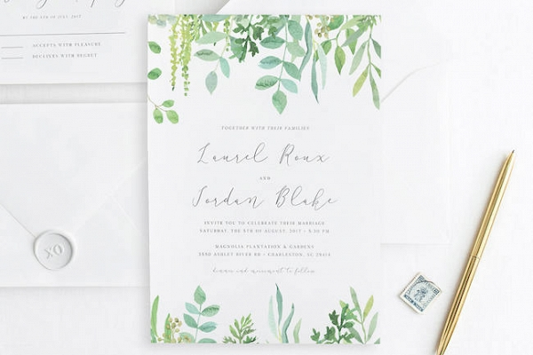 Pantone Greenery Wedding Invitation