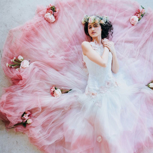Pink Ombre Dip Dye Wedding Dress