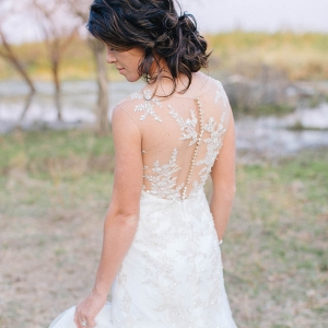Lace Illusion Back Wedding Dress