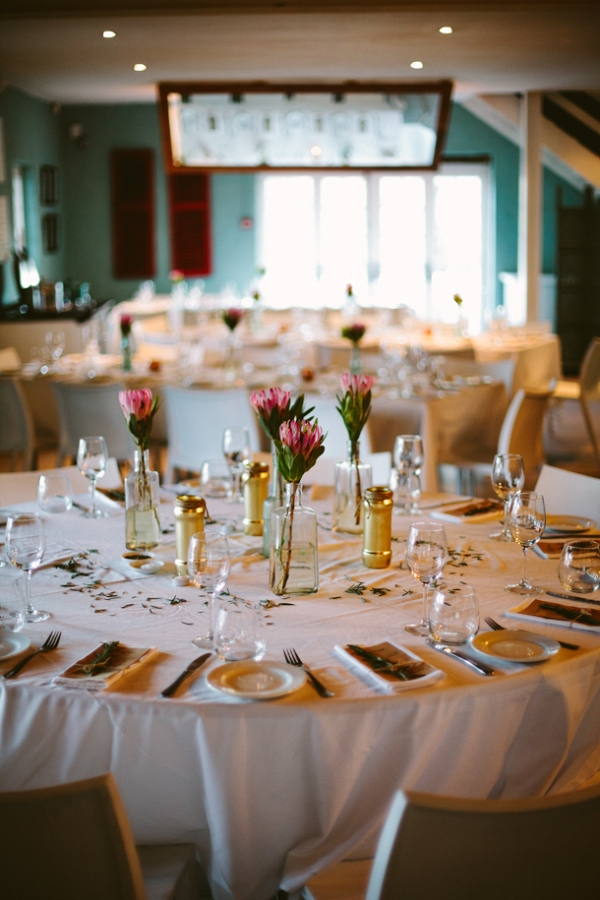 Tables with Protea Centerpiece