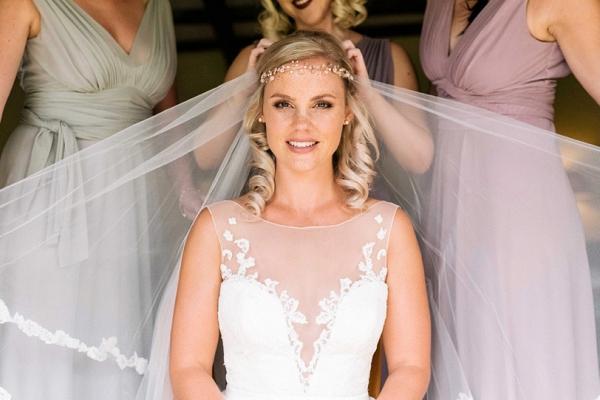 Bride in Veil and Boho Headpiece