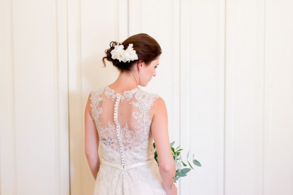 Portrait lace back wedding dress