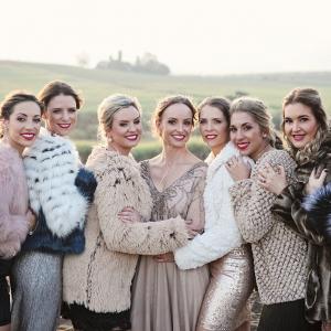 Mismatched Bridesmaids in Faux Fur Coats
