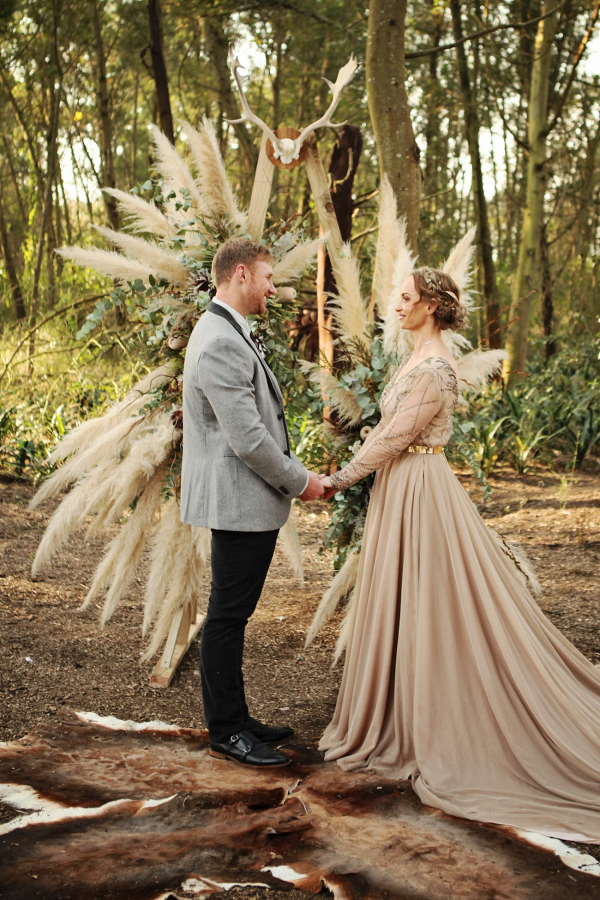 Bohemian Pampas Arch for Forest Ceremony