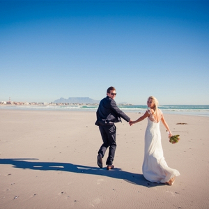 Couple on Blouberg Beach in South Africa