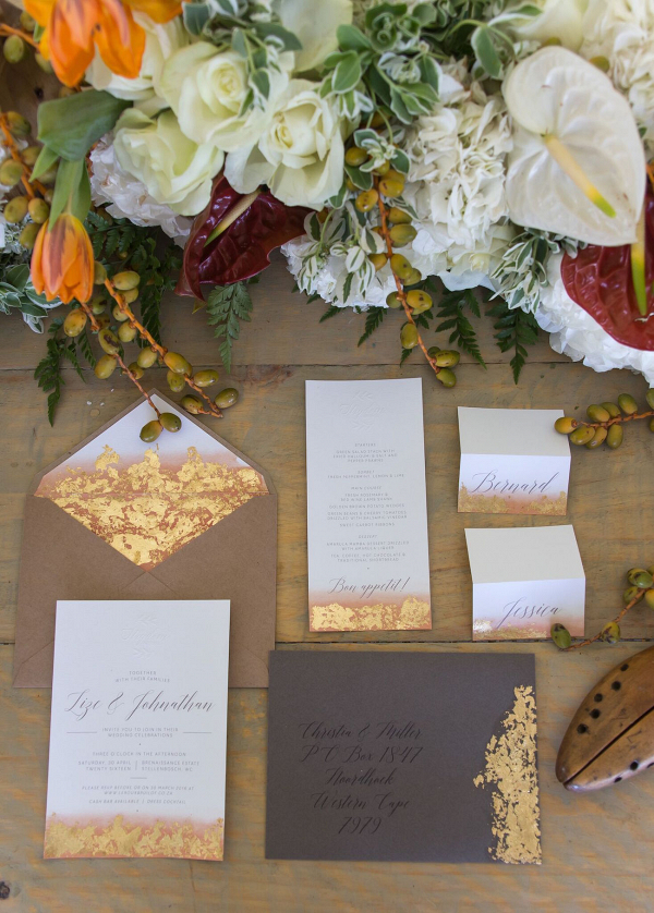 Gold Leaf Invitation Suite