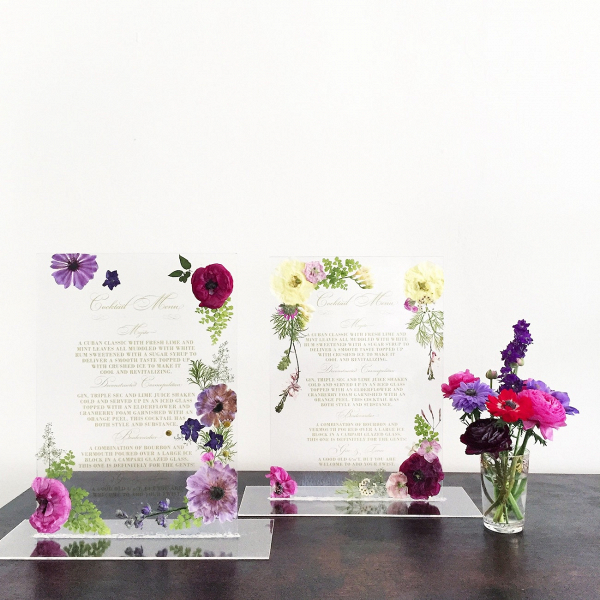 Clear Bar Menu with Pressed Flowers