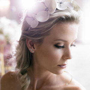 Bride with Headpiece & Iridescent Makeup