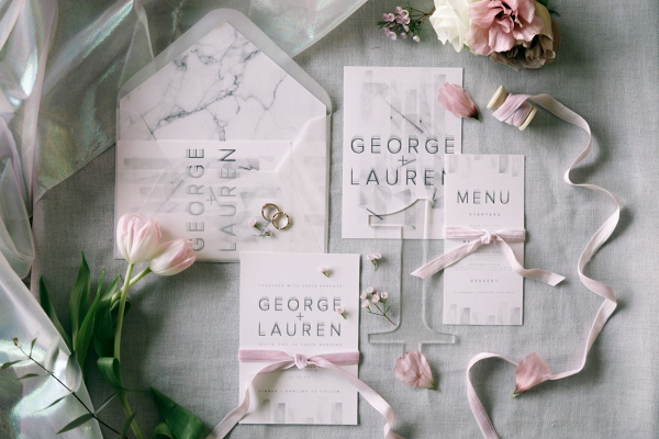 Modern Invitation with Transparent & Marble Elements