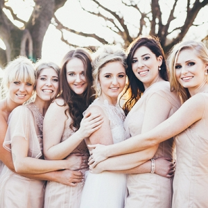 Bride & Bridesmaids in Illusion Gowns