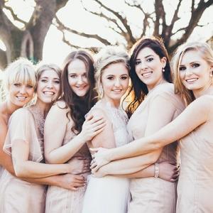 Bride & Bridesmaids in Illusion Gowns