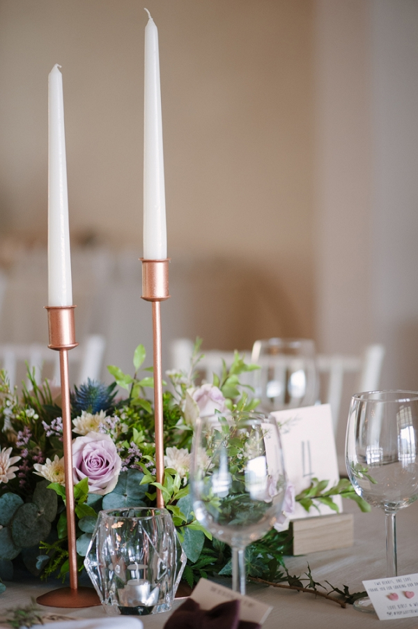 Tablescape with Copper Candlesticks