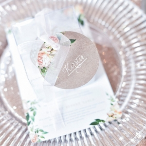 Botanic rose print place setting