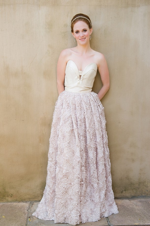 Blush ruffle wedding dress