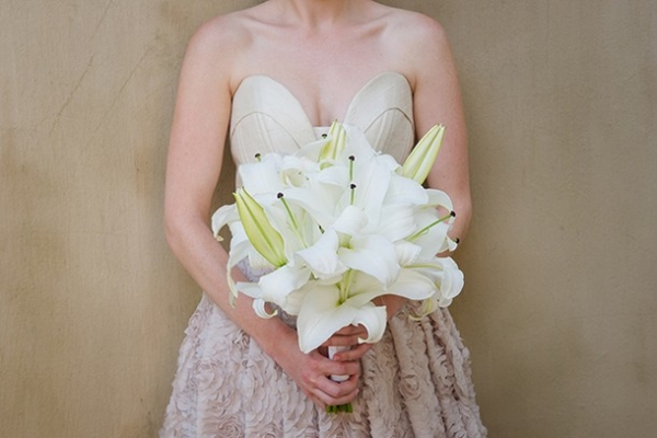 White stargazer lily bouquet