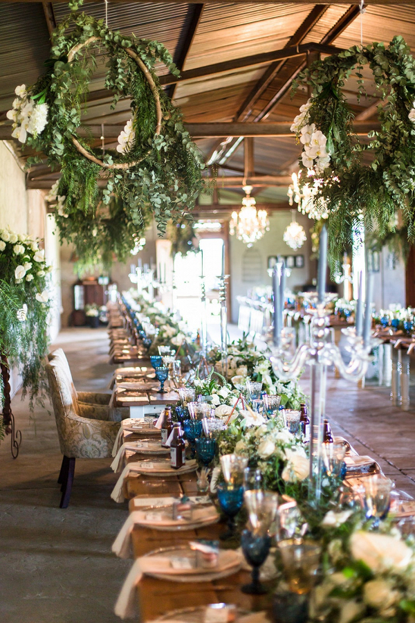 Copper and Greenery Reception Decor