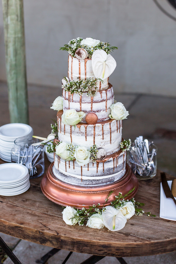 Naked Cake with Copper Drips