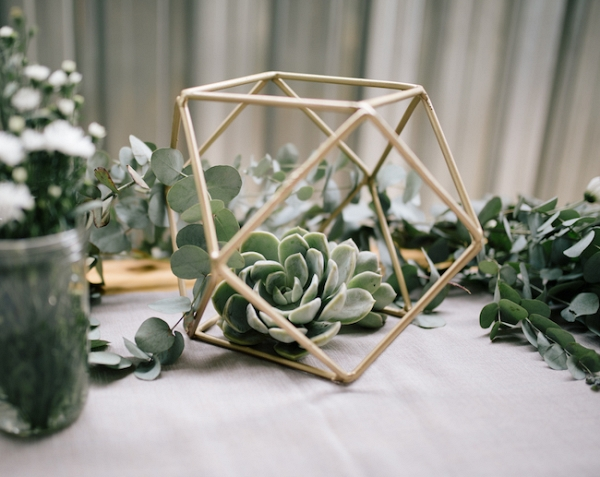 Centerpiece with Succulents & Geometric Shape