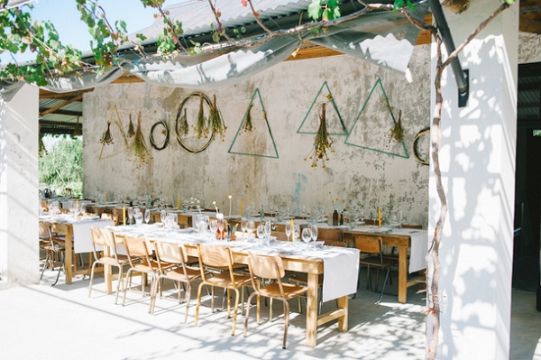 Rustic Outdoor Reception With Hanging Decor
