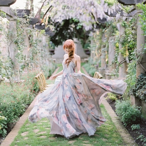 Watercolor Floral Print Wedding Gown