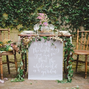 Sweetheart Table with Calligraphy Quote