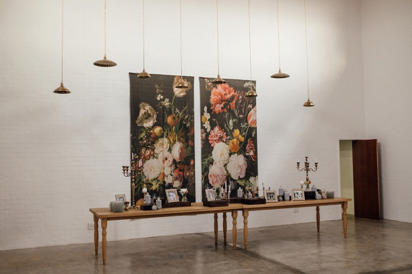 Memorial Table with Floral Print Backdrop